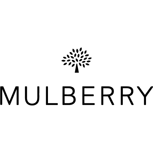 mulberry black logo white background
