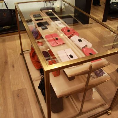 mulberry handbag display case in store