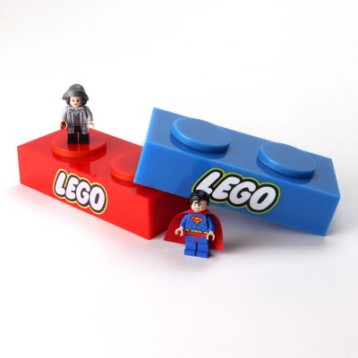 lego acrylic branding block with figures