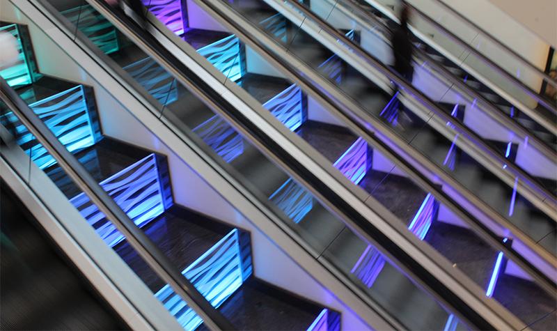 ilford exchange rainbow escalator side view