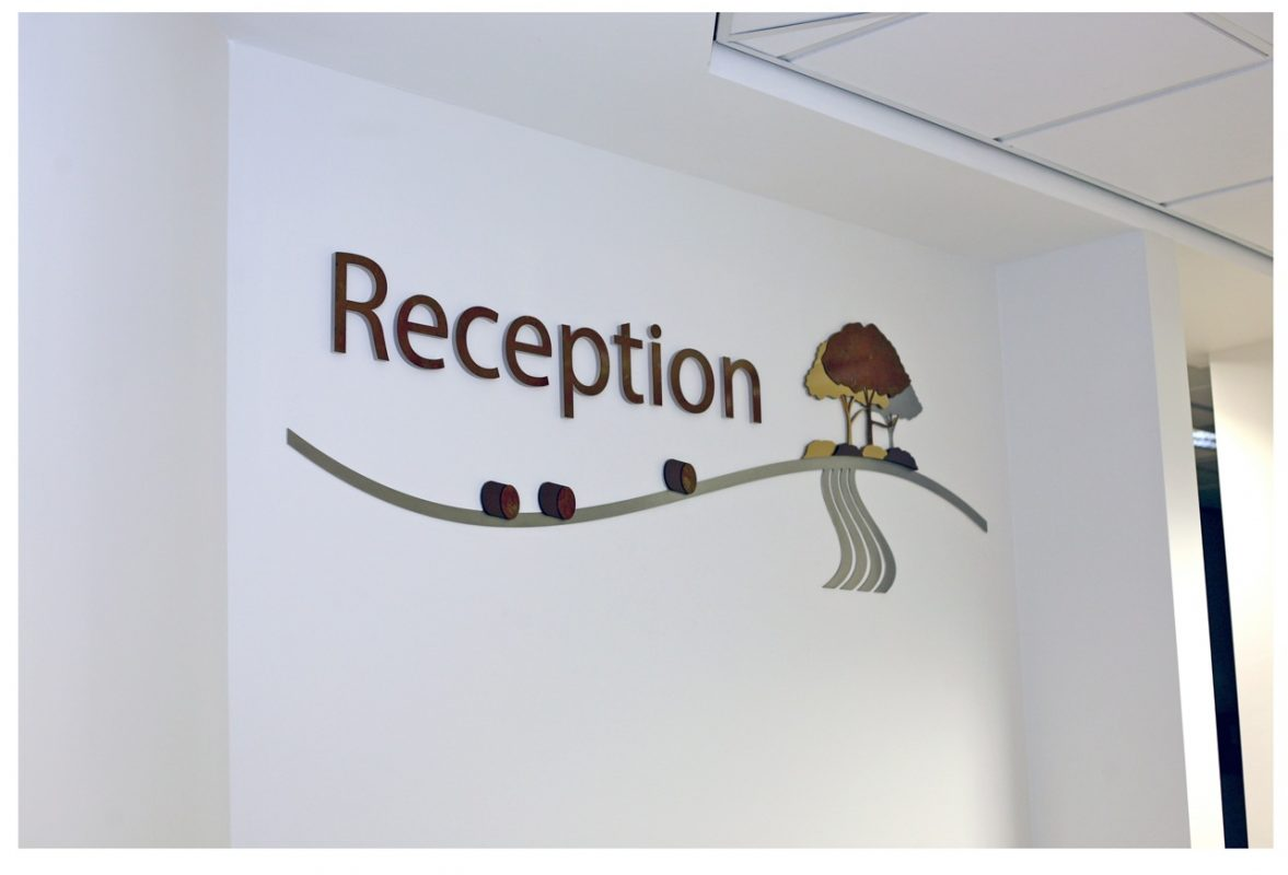 acrylic signage for reception area