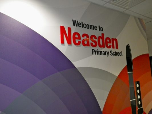 neasden primary school reception area acrylic welcome sign