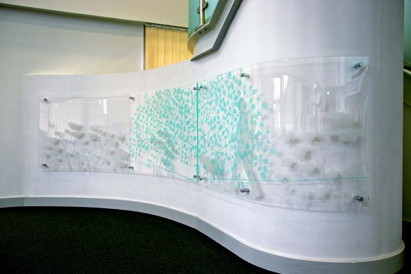 bilton grange curved wall acrylic artwork installation