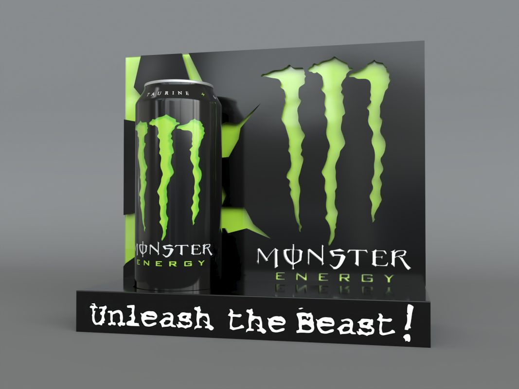 monster energy case study initial render green