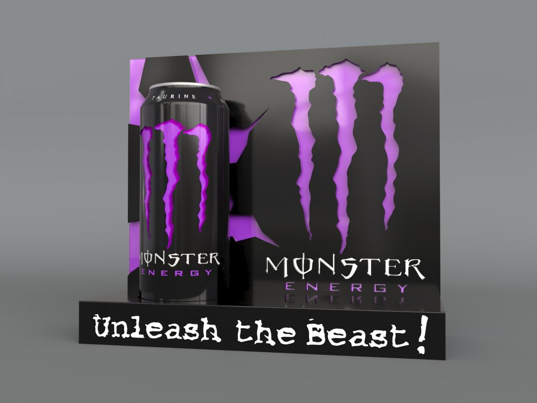 monster energy case study initial render purple