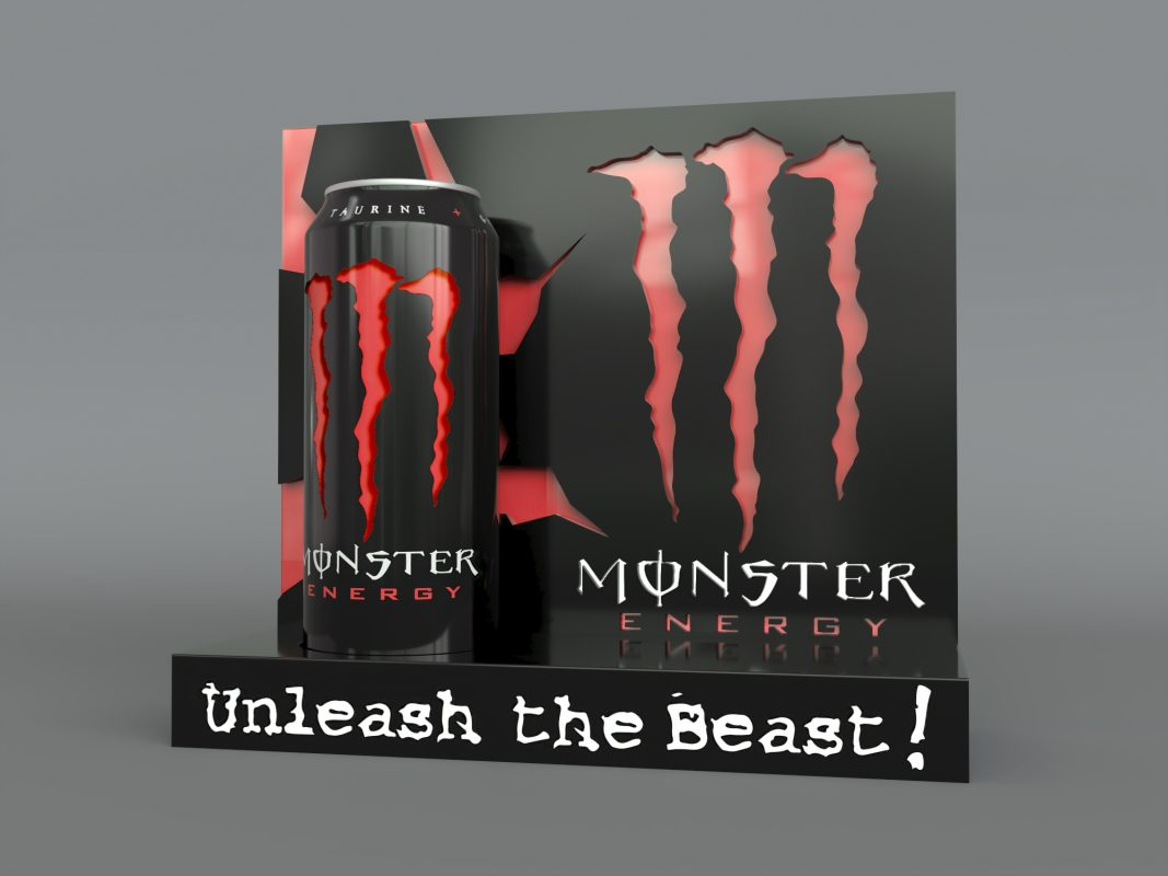 monster energy case study initial render red
