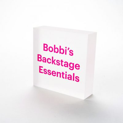bobbi's backstage essentials acrylic block