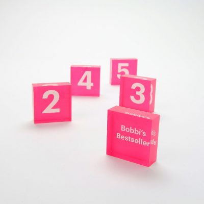 bobbi's bestseller and number blocks pink acrylic