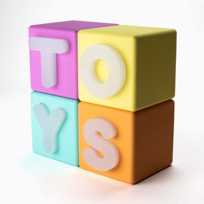 toys multi-colour text blocks stacked