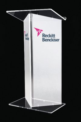 reckitt benckiser frosted front acrylic lecturn