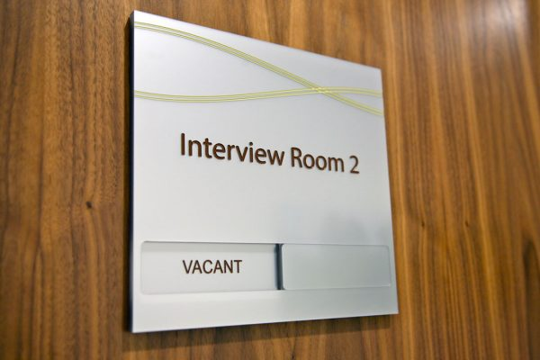 engraved interview door sign